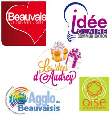 Logo des partenaires de la JCE Beauvais, la ville de beauvais, l'agglo du beauvaisis, le département de l'oise, idée claire, les idées cadeaux d'audrey