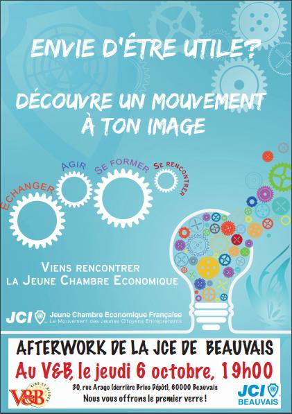 affiche de l'afterworks du 6 octobre de la JCE Beauvais, au V&B Beauvais